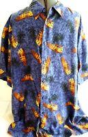M.E. Sport-Mens Button Down Hawaiian Shirt-Extra Large-Woody Surf Car-100% Silk