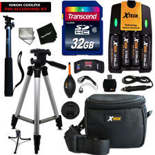 Pro 32GB Accessories KIT f/ Nikon Coolpix L120 W/ 4 Bts +Case + Tripod +MORE