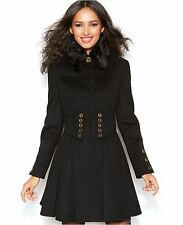 NWT BETSEY JOHNSON SzM CORSET FAUX FUR FLARED WOOL-BLEND COAT BLACK $252.