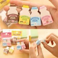2 Pcs/Set Milk Eraser Rubber Cute Cartoon Collectable School Stationery Creative