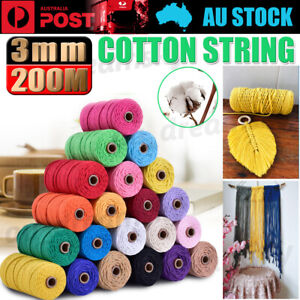 3mm 200M Natural Cotton Twisted Cord Craft Macrame Artisan Rope Weaving Wire NEW