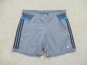 Adidas Swim Trunks Adult Medium Gray Blue Bathing Suit Shorts Swimming Mens *
