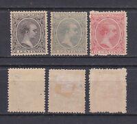 SPAIN 1899 King Alfonso XII new color set Mint * 256/260 (Mi.202-204)