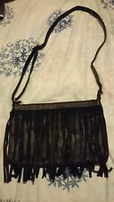 Black faux leather across body cowboy western bag with tassels + 1 free bag