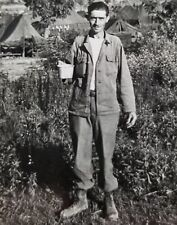 US Army Soldier Korea 1950s Photograph 3.5 x 2.25 Inches with Mess Kit Cup