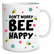Abeille Tasse Don'T Worry Be Happy Positif Citation Mignon Travail Café Cadeau