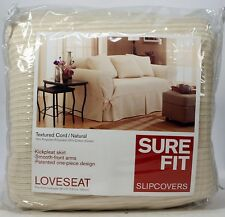 Sure Fit Slip Cover Textured Natural Cord RA KP Loveseat KICK Pleat  Skirt