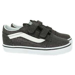 VN0A344KVIQ1 VANS Old Skool V Glitter Stars (Black) Toddler Shoes Size 5