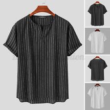 Camisas de vestir para hombre de manga corta a rayas Hippy Camisa Informal Slim Henley Cool Prenda para el torso Blusa