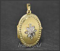 Antikes Diamant & Gold Medaillon mit 0,12ct, 585 Gelbgold & Weißgold, um 1925