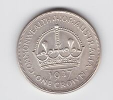 1937 Sterling Silver Crown Coin Australia King George V1 Y-36