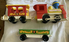 VINTAGE FISHER PRICE CIRCUS ZOO TRAIN TOY 1973 TOOT TOOT ENGINE 2 CARRIAGES 991