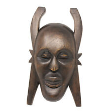 Tribal Face Mask Hand Carved Dark Wood Home Decor Wall Hanging Sculpture Male