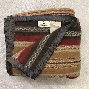 Woolrich Throw Blanket 50x68 Western Stripes Polyester Acrylic Faux Leather Trim