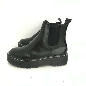 Platform Chelsea Ankle Boots Women's UK 6 Black Chunky Pull On Shoes 492098