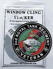 2nd ROYAL TANK REGIMENT, VETERAN WINDOW CLING STICKER  8.7cm Diameter