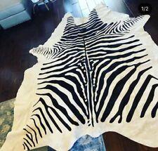 Zebra Pattern Animal Genuine Cowhide Leather Cream Black Fur Area Rug SRP $2,038