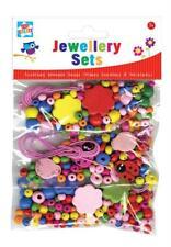 Kids Arts & Crafts Wooden Bead Jewellery Bracelets Necklakes Set Fun Creative