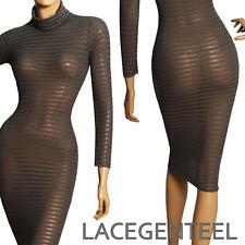 Plus size 26W Slimfit Sexy See Through Grey Stripe Party Turtleneck Sheer Dress