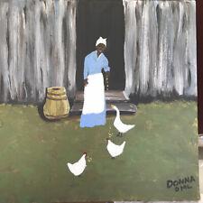 Original Black Americana Folk Art. 12x12 'Feeding Time'by DML Acrylic on canvas