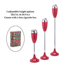3 Piece Design Antique Outdoor Stand Up Floor Ashtray Height Adjustable Red
