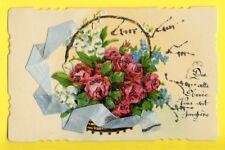 Carte Postale 1937 CHROMO Anciens Panier de Fleurs Découpis RUBAN SOIE SILK