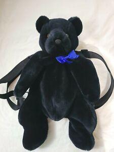 Black Bear blue bow Backpack, Adjustable straps, Zipped lined pocket Soft plush