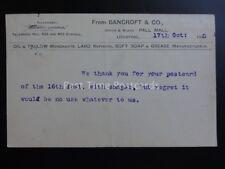 LIVERPOOL Pall Mall, M Bancroft & Co Oil & Tallow Mer c1905 Postal Stationery PC