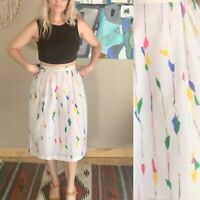 80s women's vintage high waist pastel abstract print skirt W26 boho new wave