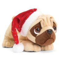 Keel Toys CHRISTMAS Pug Dog PUGSLEY with Sound SANTA Hat 26cm Soft Toy