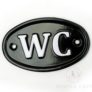 WC TOILET SIGN CAST METAL VINTAGE IRON STYLE BLACK WHITE WALL DOOR PLAQUE PLATE