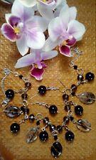 Black agate onyx and black tourmaline jewellery set