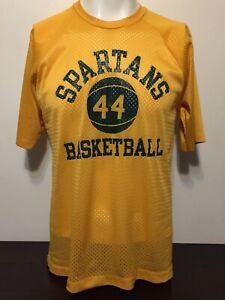 Vintage 70s Champion Blue Bar Gold Mesh Jersey Shirt L Spartans Basketball 44