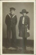 Boy in Navy Sailor Outfit & Girl Guide Uniform c1920s Real Photo Postcard