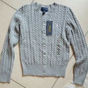 Polo Ralph Lauren Big Girls Cable Knit Gray Pink Pony Button Up Cardigan Size M