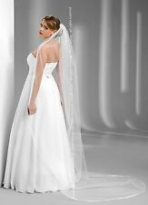 "New 1T White / Ivory Wedding Prom Bridal Chapel Veil With Comb 100""- Satin Edge"