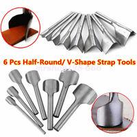 6X Half-Round/V Shape Leather Craft Tool Kit Hole Chisel Graving Stitching Punch