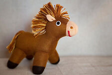 Freia Knitted Doll - Horse Pony Gavrusha - Handmade Cotton Wool