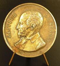 Médaille argent vermeil Olivier de Serres Ville de Compiegne 45 mm silver Medal