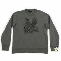 INC Mens Eagle Sweatshirt Roses Embroidered Taupe Brown Variety Sizes