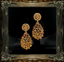 d1f9d1606b0a Pendientes CLIPS Dorado Amarillo Ámbar Cristal Gota Pendientes Matrimonio  YW12