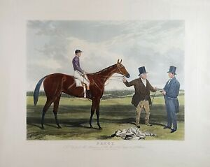 Vintage Engraving, Color Print of Racing Horse, BAILY BROTHERS, by Charles Hunt