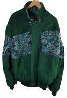 V Italy Original Vintage Mens Alcantara Jacket XXL 2XL Forest Green 90s Coat