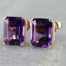 4.00 Ct Round Cut Amethyst 14k Yellow Gold Over Stud Earrings