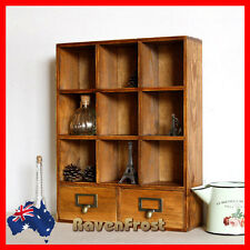 Timber Wall Shelf Mounted Display Cabinet Unit Wooden Cupboard Chest Storage A8