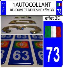 1 sticker plaque immatriculation auto DOMING 3D RESINE DRAPEAU ITALIE FLOTANT 73