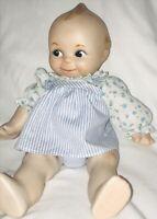 Qewpie Danbury Mint Porcelain Doll Jointed Vintage 1984 Blue Floral Dress Nice!!