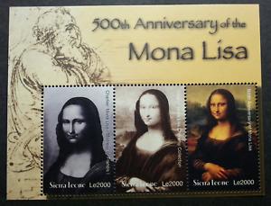 [SJ] Sierra Leone 500th Of Mona Lisa 2000 Painting Leonardo da Vinci (ms) MNH