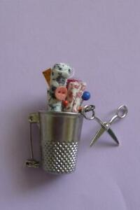 VINTAGE Sewing Thimble Brooch PIN Scissors Fabric Pins
