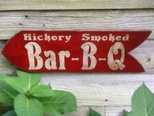 Vintage Look Hand Painted Wooden BBQ Sign - HICKORY SMOKED BAR-B-Q Arrow Sign
